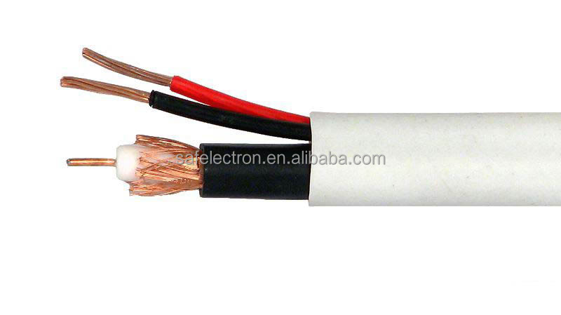Bulk RG59 Siamese Coaxial/Power Cable Black Solid Core Coax 18/2 Stranded Copper Power 500-Foot