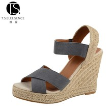 Ladies Cross Strap Wholesale Customized grey espadrilles wedges elastic high wedge heel sandals womens