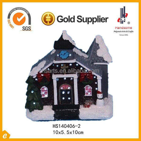 "4"" 2015 hotsale small polyresin christmas house with Fiber Optics"