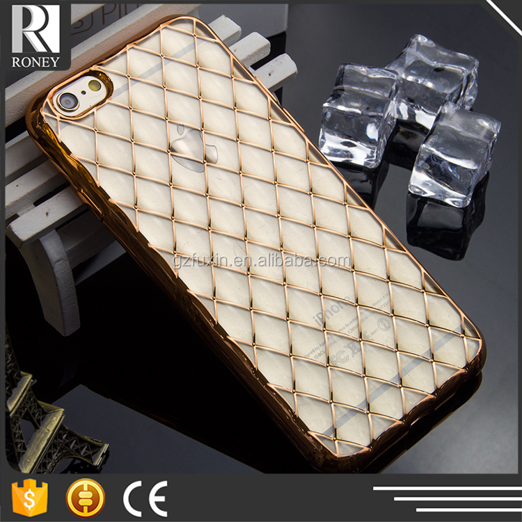 Lambskin Diamond Pattern Design Electroplate TUP Cell phone case for iphone 6 6s
