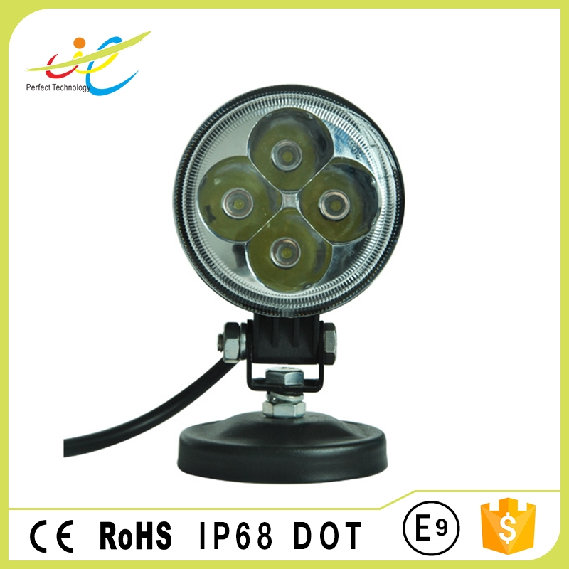 Flood spot round car led driving light 3inch 12w led tractor work light e-mark ce rohs dot ip68 approved