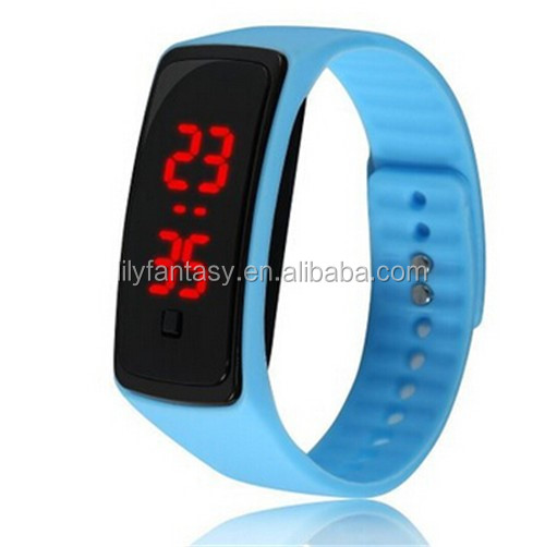 Custom Logo Promotion Gift New Womens mens kids Silicone Band Touch Screen Sports LED Watch Bracelet