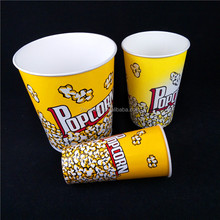 Popular Cinema use Disposable Popcorn Paper Cup/popcorn bucket with lid