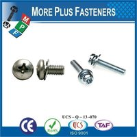 Taiwan M3 M12 M5-0.8 x 25mm DIN 7985 Phillips Drive Pan Head Grade A2 Stainless Steel Machine Screw with Hex Double Lock Washer