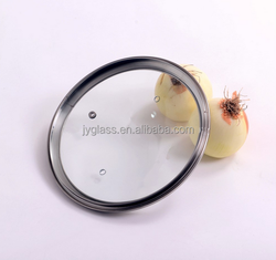 Hebei factory tempered glass pan cover with stainless steel rim