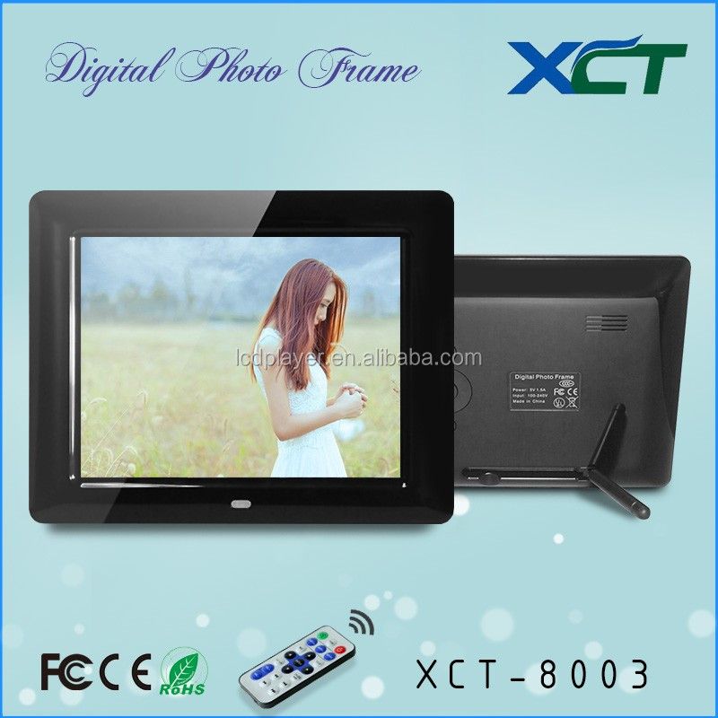Wholesale bulk wall mounted gif lcd led 8 inch jpeg digital photo frame ce rohs XCT-8003