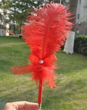 New Product! China Supplier ! Wedding Decoration 12 Inches Red Ostrich Feather Pen / Holder Set Wedding Party 5 Colors