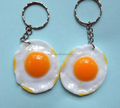Creative sun egg promotion gift keychain/3D egg shape food key chain/custom plastic food key holder