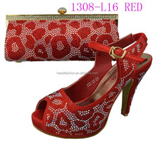 1308-L16-red second hand clothes shoes and bags