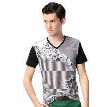 Men's stripy v-neck cheap t-shirts