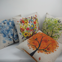 Wholesale square shape print cushion cover sofa home decor pillow tree series sublimation pillow case