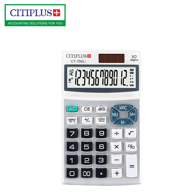 Promotional Gift 10 Digits with metal surface Check function Pocket Calculator