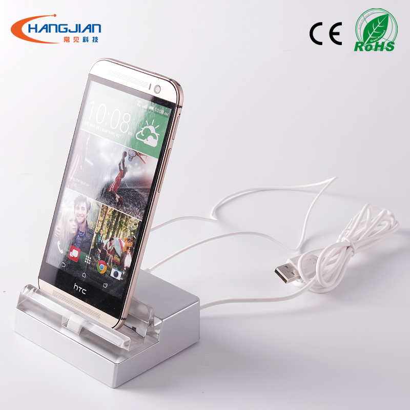 square unit clear acrylic mobile phone anti-theft display stand with spring cable and sensor for phone carrier