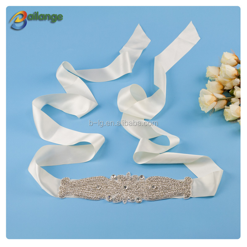 MOQ 10pcs Bailange wholesale bridal acessories beaded rhinestone sash