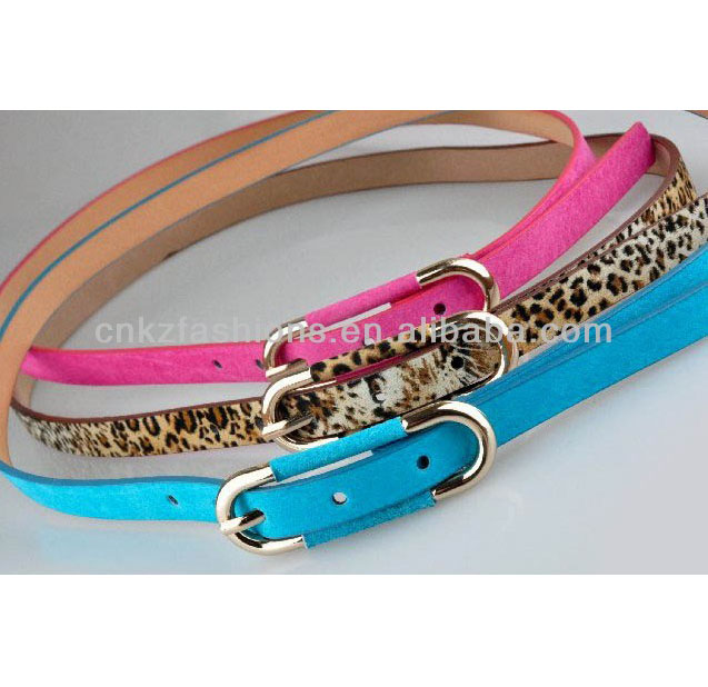 candy color PU suede leather skinny belt with oval buckle