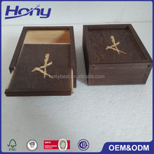 Custom Dark Stain Wooden Sliding Lid Photo Packaging Gift Box with Logo