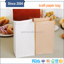 Thin paper food packaging kraft paper bag no handle white craft paper bag