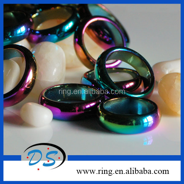 Hematite Healing Magnetic Rainbow Triple Cock Ring Products