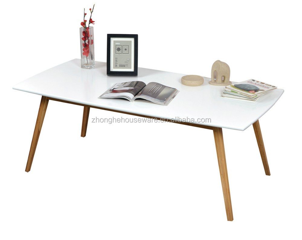 Newly Design Wood Legs Modern MDF Dining Table, Table Top MDF