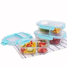 Amazon Top Seller 2018 Lunch Box Plastic lid Microwave Safe Meal Prep Glass Food Container Storage with 2 Compartments