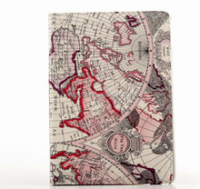 Map Style Stand Book Flip Leather Case Cover for Apple iPad 6/air 2