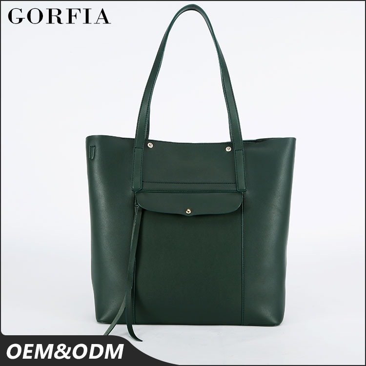 High quality women's new fashion satchel bag branded handbag large green leather tote bag for wholesale