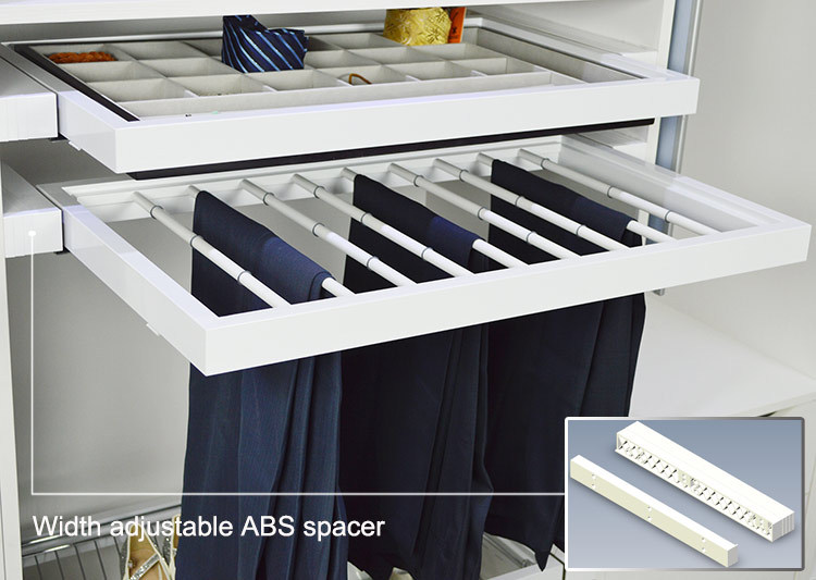 Wardrobe accessories pull out soft close trousers rack