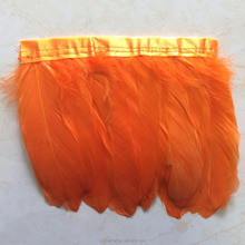 Wholesale Orange 15cm Feather trims and fringes goose feather triming for dress