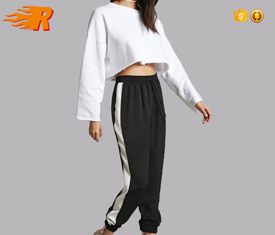 Custom Woman Black Nylon Track Pants With Stripe