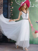2013 new fashion princess feel women's long white dress beautiful!!!