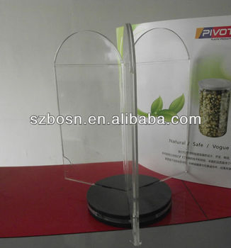 3 sides acrylic menu display;Clear acrylic table tent