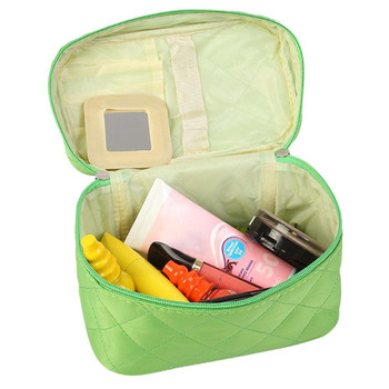 Green Nylon Portable Handle Water-proof Travel Custom Makeup Cosmetic Bag With Small Mirror