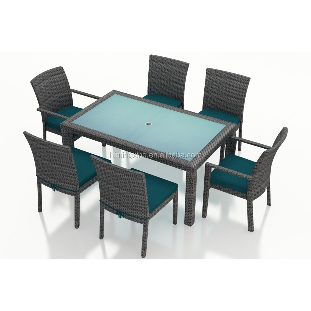 Patio PE rattan simple design dining table and chair outdoor furniture set
