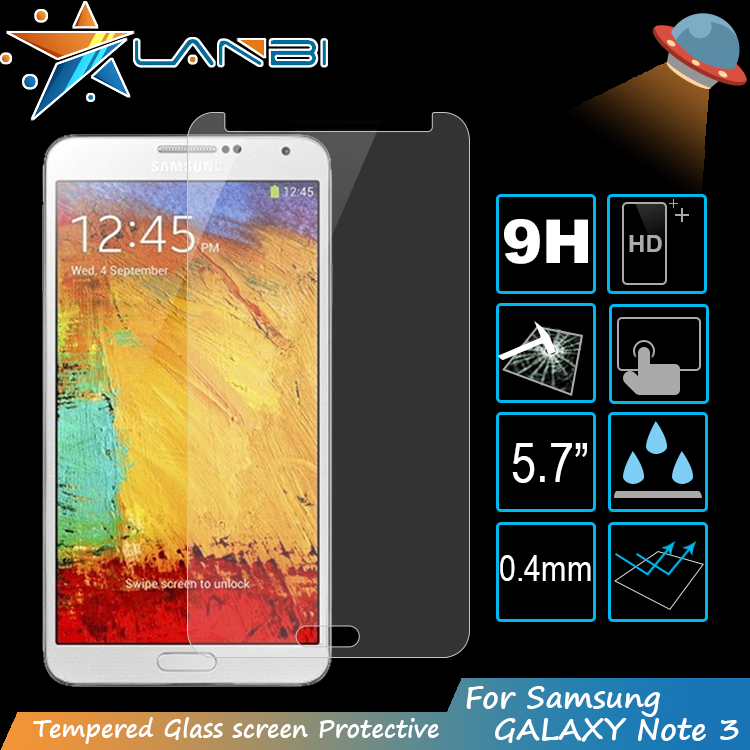 Wholesale !! 0.4mm 5.7inch 9H Ultra clear anti fingerprint smart phone cut screen protector for Samsung galaxy note3 price