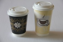 Double wall style disposable carton paper cup for coffee with logo printed