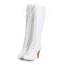 2017 new lace up high quality ladies white boots