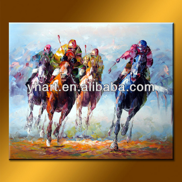 Wholesale Handmade Modern Running Horse With People Artwork And Paintings