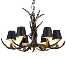 American Vintage Style Resin Antler Chandelier 6 Lights Deer Horn Pendant Lights