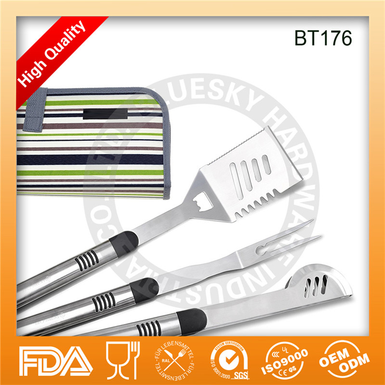 3Piece Stainless steel BBQ Grill Tool set Fork Spatula Tongs with Apron packing