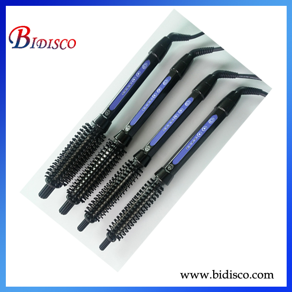 titanium barrel parts of hairbrush with plastic rubber spray handle