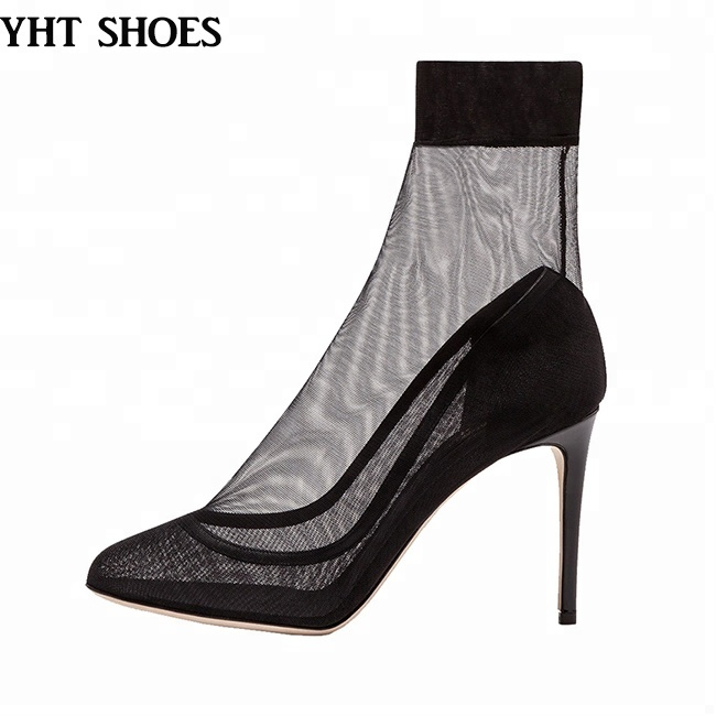 Party young ladies sexy high <strong>heels</strong> black mesh stiletto pumps footwear