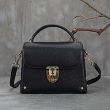 handmade fashion black bags girls crossbody bags genuine leather student messenger bags