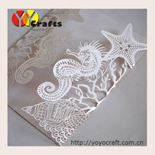 alibaba cheap wholesale and retail personalized seahorse design folded white invitation cards wedding laser cut