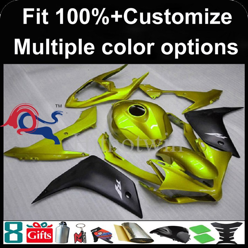 Injection mold yellow Body motorcycle cowl for Yamaha YZF-<strong>R1</strong> 2007-<strong>2008</strong> 07 08 YZFR1 2007 <strong>2008</strong> 07-08 ABS Plastic <strong>Fairing</strong>
