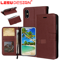 2017 Winter Wallet PU Synthetic Leather Phone Case colour brown For iPHONE X