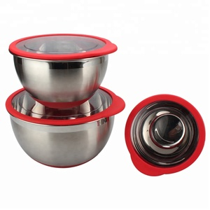 3 Piece Stainless Steel Mixing Bowl Set with Transparent Lids, Measuring guide markings and Non Slip Silicone Base-1.6L, 3L & 5L