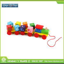 Colorful carriage letters wooden toy train for kids