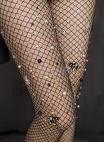 L2172A 2017 shiny fishnet pantyhose rhinestones flower pearls tights Stockings