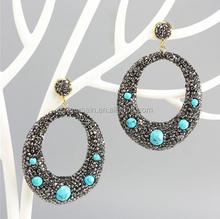 LS-D6719 Amazing Turquoise beads paved diamond earring Fashion pave crystal dangle earring,rhinestone Stud earring