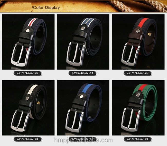 fashion colorful mens rainbow canvas belt with 100% cotton